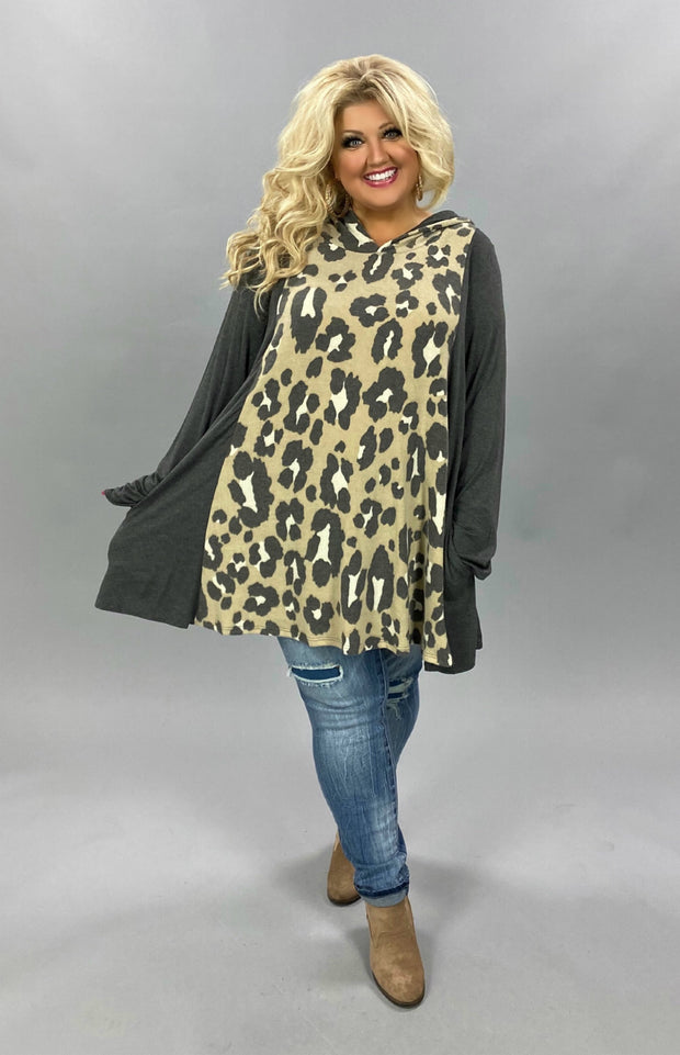 24 HD-C {Walking By Daily}  SALE!! Grey Mocha Leopard Hoodie CURVY BRAND EXTENDED PLUS SIZE 3X 4X 5X