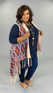 OT-Y {Standing Room Only} Knit Fringed Multi-Color Vest