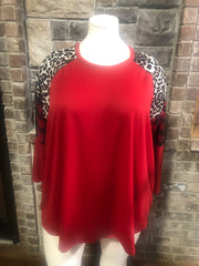 43-CP-A {Nothing Can Compare}  SALE!! Red Leopard/Plaid Tunic CURVY  BRAND Extended Plus 3X 4X 5X 6X
