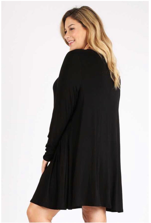SQ-F (Simple Comforts) Solid Black Dress With Pockets EXTENDED PLUS SIZE 3X 4X 5X