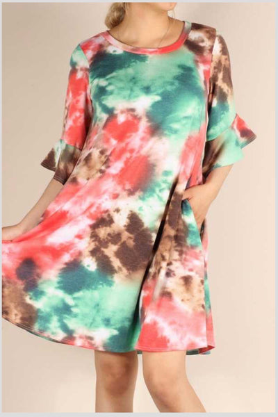 PQ-A {Don't Look Back} Coral & Green Tie Dye Ruffle Sleeve Dress PLUS SIZE 1X 2X 3X