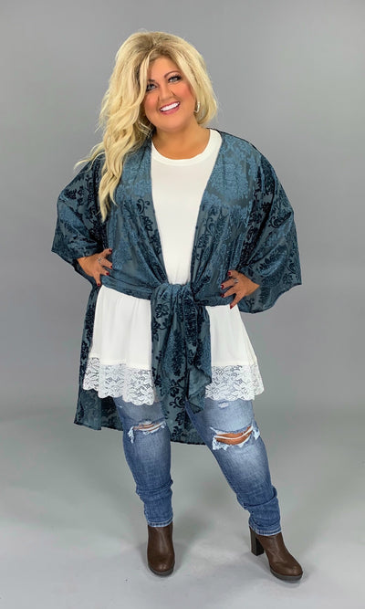 OT-T {Time To Shine} Navy Cardigan with Velvet Damask Print PLUS SIZE 1X 2X 3X SALE!