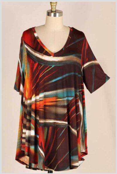 PSS-A {From Dusk Till Dawn} Brown/Teal Marbled Tunic EXTENDED PLUS SIZE 3X 4X 5X