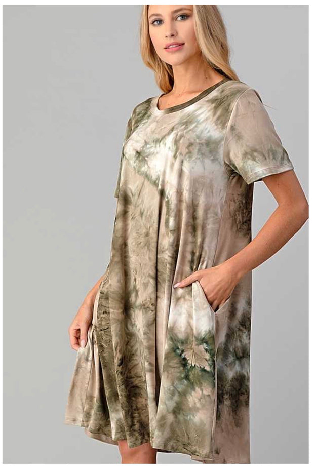 PSS-V {Down By The River} Olive & Tan Tie Dye Dress BUTTER SOFT PLUS SIZE XL 2X 3X