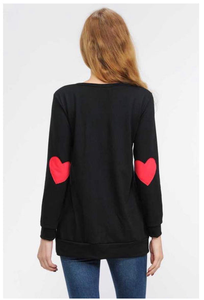 45-GT-H (Heart on my Sleeve) Black Tunic w/ Red Patch Sleeve PLUS SIZE 1X 2X 3X