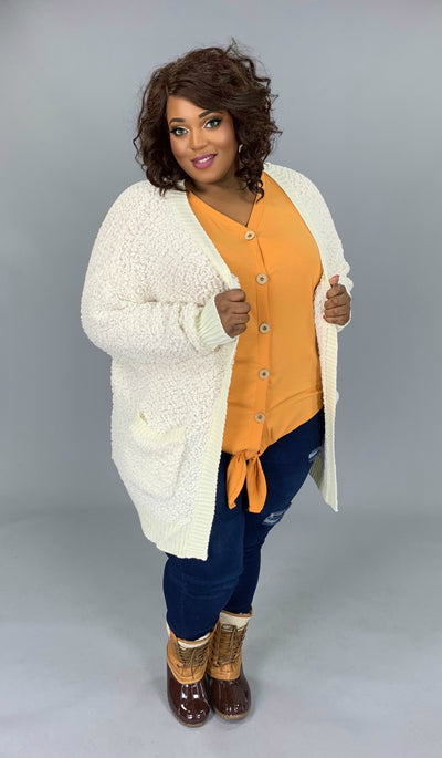 OT-G {Treat You Better} Cream Popcorn Sweater Cardigan with Pockets SALE!!