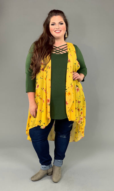 OT-V {Time Of My Life} Yellow Floral Print Hi-Lo Vest Extended Plus SALE!!