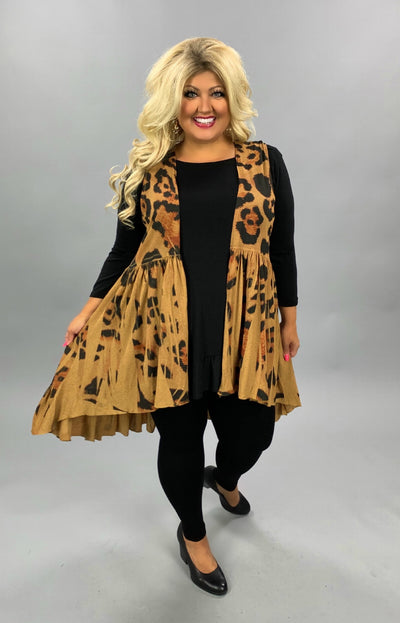 OT-M {Wild Kingdom} Camel Color Animal Print Vest PLUS SIZE 1X 2X 3X