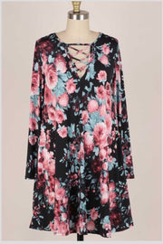 33 PLS-W [Like a Rose} Black/Rose Detailed Neck Dress PLUS SIZE XL 2X 3X