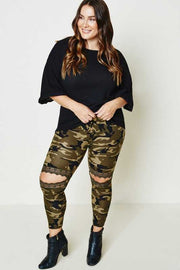 29 BT-B {Chasin' You} Camo Cut Knee Bottoms PLUS SIZE XL 2X 3X