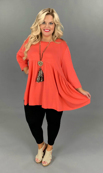 SQ-P (Step Aside) Coral Babydoll Tunic W/ 3/4 Sleeves EXTENDED PLUS SIZE 1X 2X 3X 4X 5X 6X