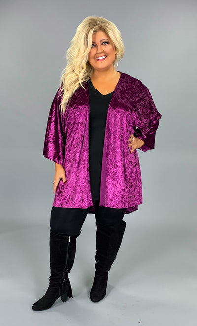 OT-P {Lovely Lady} Velvet Magenta Cardigan with Wide Sleeves SALE!