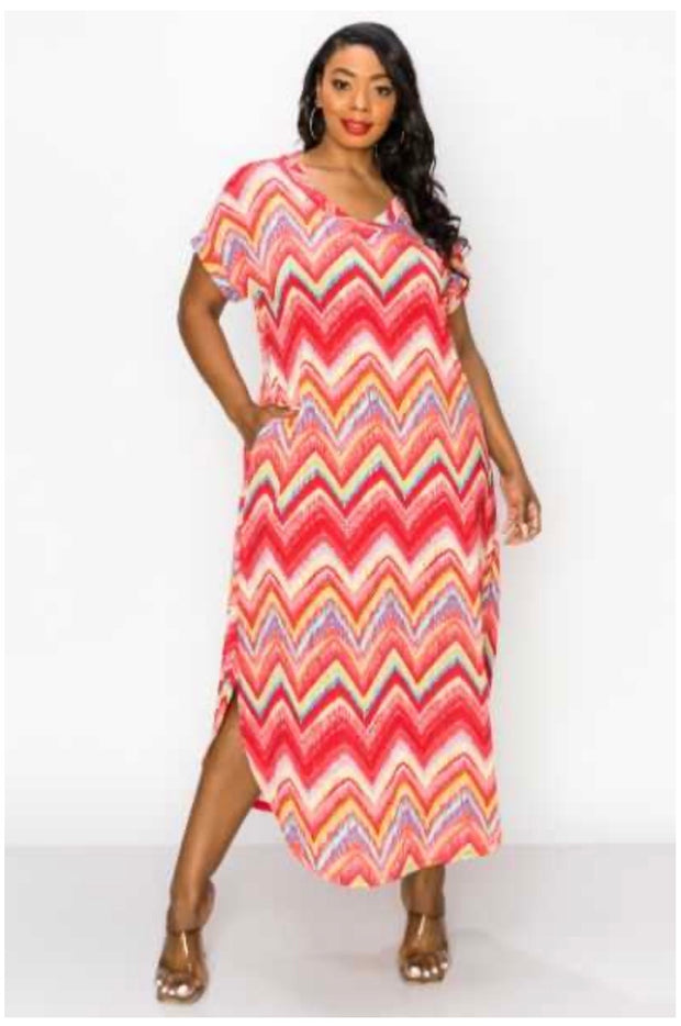 61 LD-A {Passion Island} Multi Color Dress with Pockets PLUS SIZE 1X 2X 3X