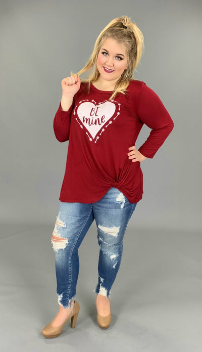 "GT-P ""BE MINE"" Burgundy Top with Gathered Hem SALE!!"