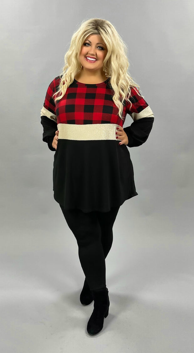 42 CP-K {Good On My Own}  SALE!! Red Black Plaid Glitter Tunic CURVY BRAND EXTENDED PLUS SIZE 3X 4X 5X 6X