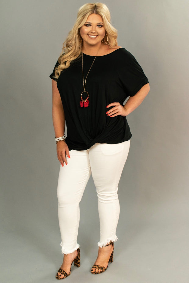 SSS-O {Dream Big} BLACK V-Neck Top with Front Pocket
