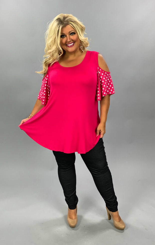 OS-T {Soft Spoken} Pink Polka Dot Cold Shoulder Tunic CURVY BRAND EXTENDED PLUS SIZE 3X 4X 5X 6X SALE!!