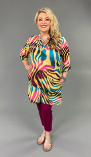 PQ-N {Stay Wild} Psychedelic Multi-Print V-Neck Dress PLUS SIZE 1X 2X 3X SALE!!