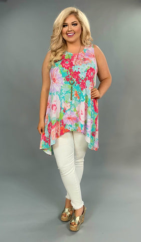 SV-R {Flower Power} Floral Hi-Lo Sleeveless Top