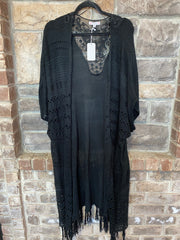 OT-A {Black Out} Boho Cardigan With Fringe & Back Lace Insert PLUS SIZE 1X 2X 3X