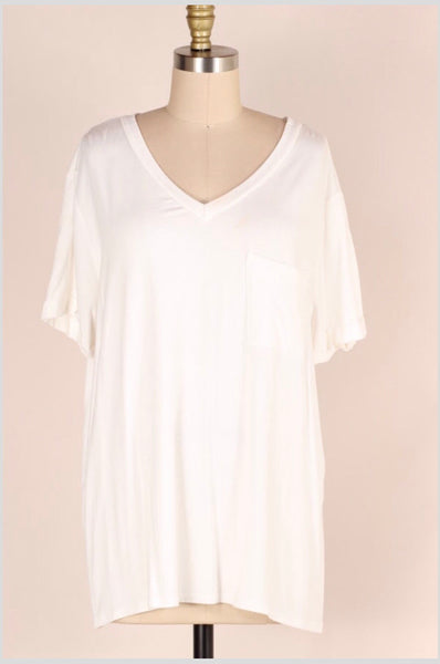 SSS-P {Dream Big} WHITE V-Neck Top with Front Pocket