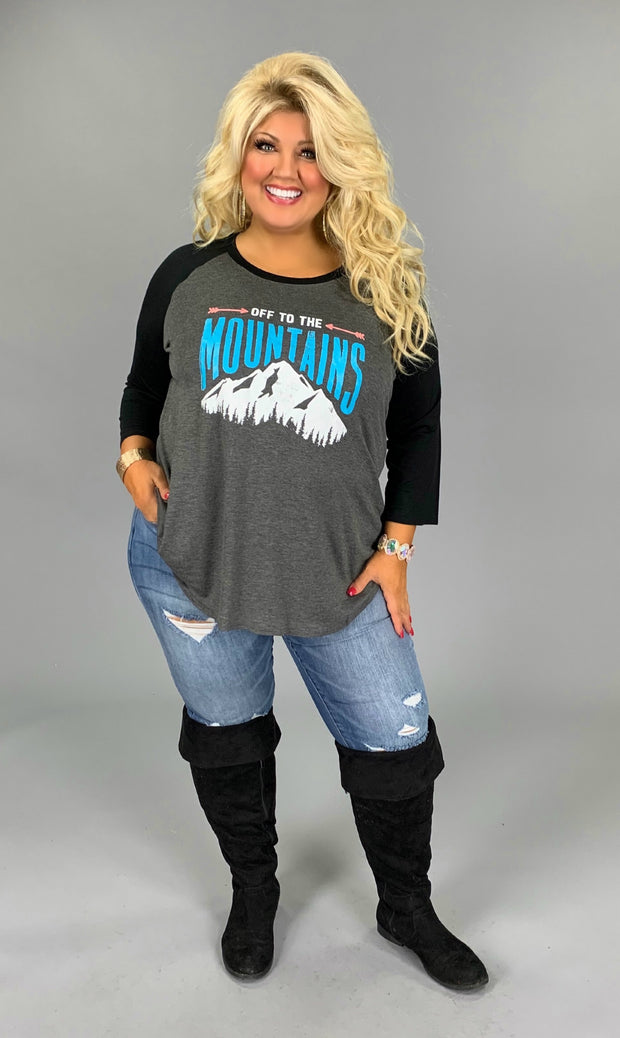 GT-M {Off To The Mountains} Graphic Tee with Black Sleeves EXTENDED SIZE 1X 2X 3X 4X 5X 6X