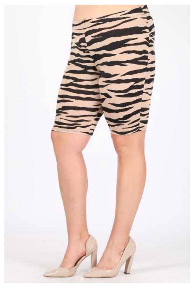 SET-C {Not Too Wild} Tan & Black Zebra Print Shorts Lounge Set PLUS SIZE XL 2X 3X
