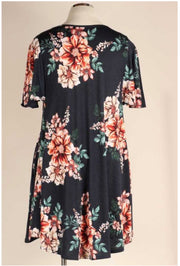 49 PSS-F {Loved By All} Navy Rust Flower Print Dress EXTENDED PLUS SIZE 3X 4X 5X