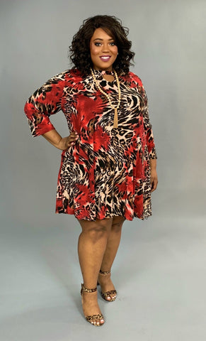 PQ-G {Moody Remarks} Red Animal Print Dress with Keyhole Detail Extended Plus