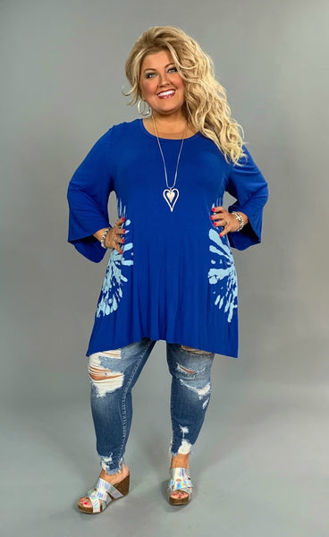 PQ-Z {Power Of Love} Royal Blue Tunic with Tie-Dye Detail SALE!!
