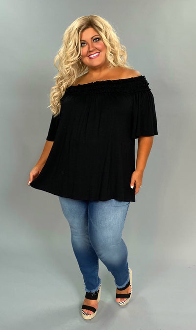 OS-C {Classic Cutie} Black Off Shoulder Ruffle Detail Tunic