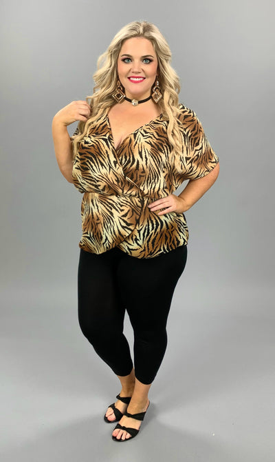 PSS-H {Wild Nights} Tiger Print Wrap Front Sheer Top PLUS SIZE 1X 2X 3X