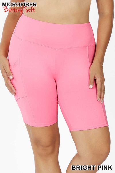 54 BT-H {Get Inspired} Pink Bike Shorts w Pockets Plus Size XL 2X 3X