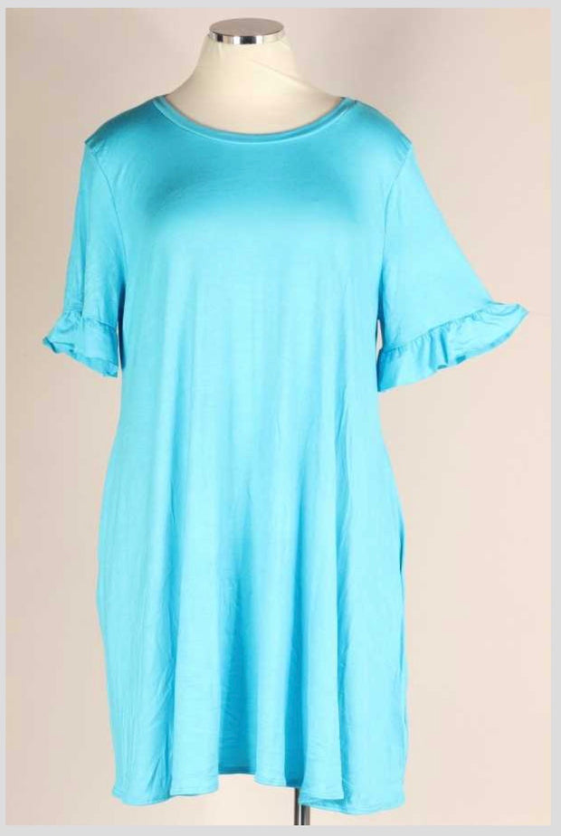 52 SSS-C (Blue Skies Above) Turquoise Dress with Ruffle Sleeve 4X5X6X Extended Plus