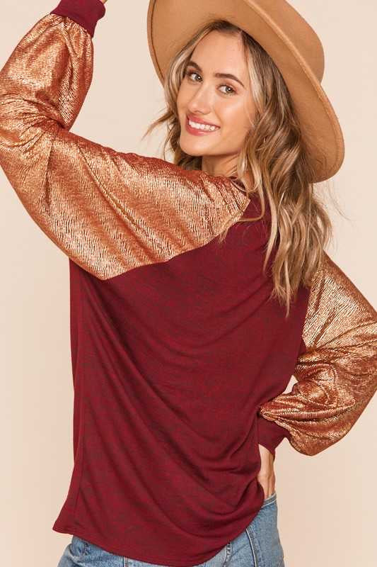 11-14 CP-G {My Time To Shine} Maroon Gold Metallic Top PLUS SIZE XL 2X 3X