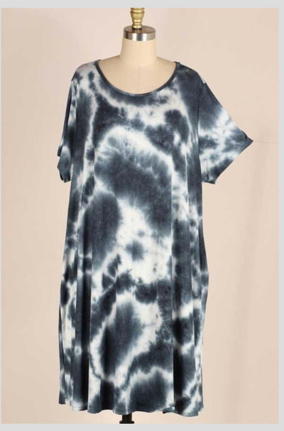 PSS-T {Dying To Wear This} Deep Jade Tie-Dye Dress EXTENDED PLUS SIZE 3X 4X 5X