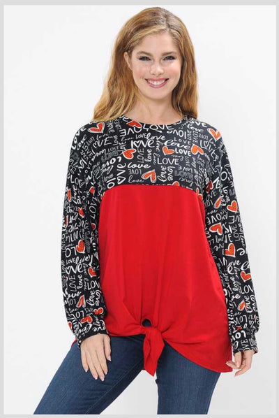 45-GT-G ( Written Love Letters) Red Black Tunic w/ Script & Tie Front PLUS SIZE 1X 2X 3X