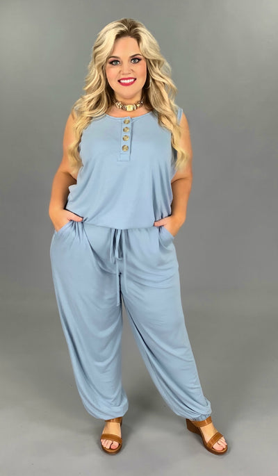 RP-S {In One Piece} Steel Blue Jumpsuit w/Buttons