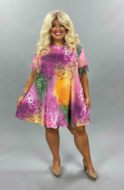 50 PSS-A {Spring In Your Step} Pink Green Purple Floral Dress EXTENDED PLUS SIZE 3X 4X 5X