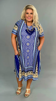 LD-J {Memory Lane} Blue Printed Long Dress with Pockets