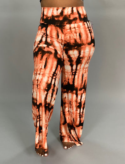 BT-C {Old Flame} Coral/Black Tie-Dye Palazzo Pants
