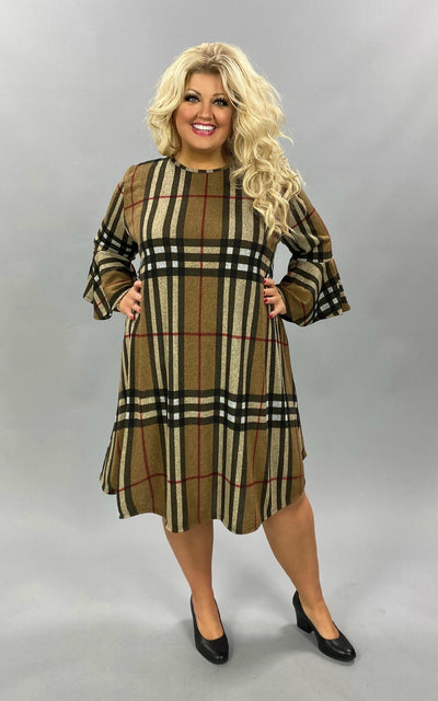 PQ-B {Must Confess} Taupe Black Red Plaid Knit Dress EXTENDED PLUS SIZE 3X 4X 5X