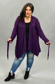 41 OT-D {Careful Heart} Purple Tie Front Cardigan PLUS SIZE XL 2X 3X