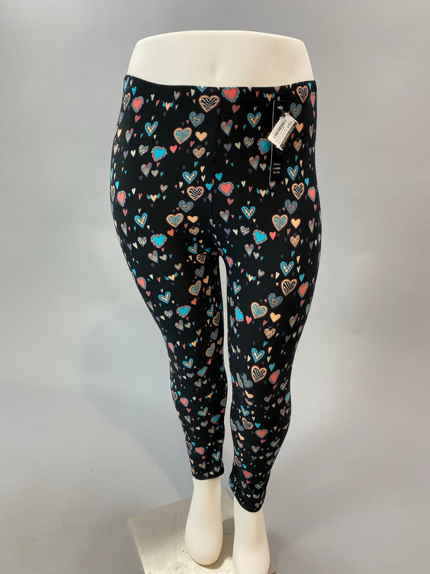 Leg-5 {Love You More} Multi Heart Print Capri Leggings EXTENDED PLUS SIZE 3X/5