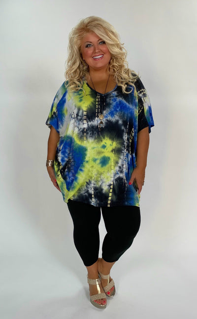 PSS-E (Instant Gratification) Lime/Blue Tie Dye Print Tunic Extended Plus