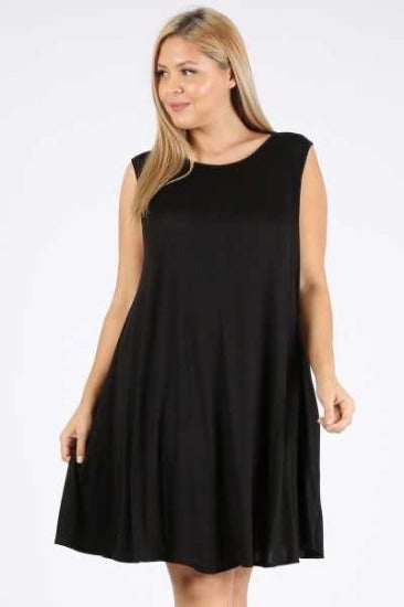SV-H {Dark As Night} Black Sleeveless Dress With Pockets PLUS SIZE 1X 2X 3X
