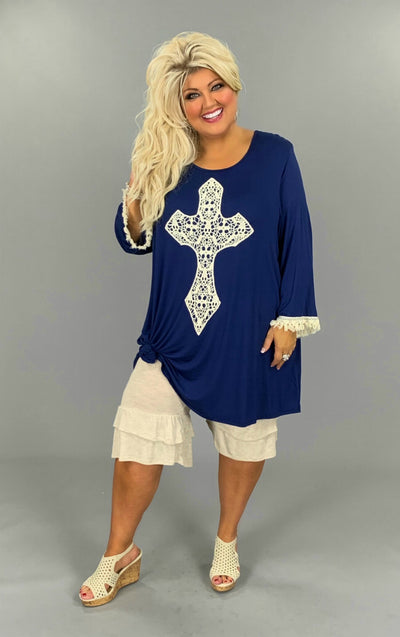 GT-J {Most Loved} Navy 3/4 Sleeve Tunic W/Crochet Cross EXTENDED PLUS SIZE 3X 4X 5X 6X