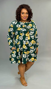 PLS-V {Dandy Choice} SALE!! Green Floral Soft Knit Dress with Pockets Extended Plus FLASH SALE