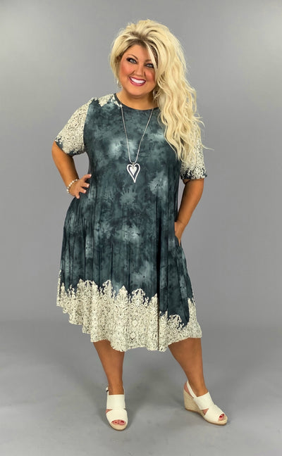 PSS-O {No More Dark Skies} Charcoal Textured Dress EXTENDED PLUS SIZE 3X 4X 5X