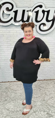 62 SD-Z {Sweet & Sincere}  Black Tunic with Leopard Detail CURVY BRAND EXTENDED PLUS SIZE 3X 4X 5X 6X